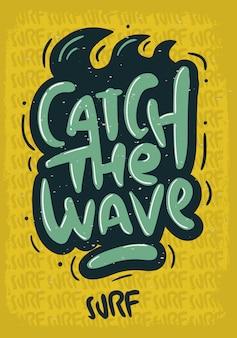Tipo di iscrizione surf disegnata a mano scritta logo segno etichetta per immagine di poster t-shirt o adesivo annunci di promozione