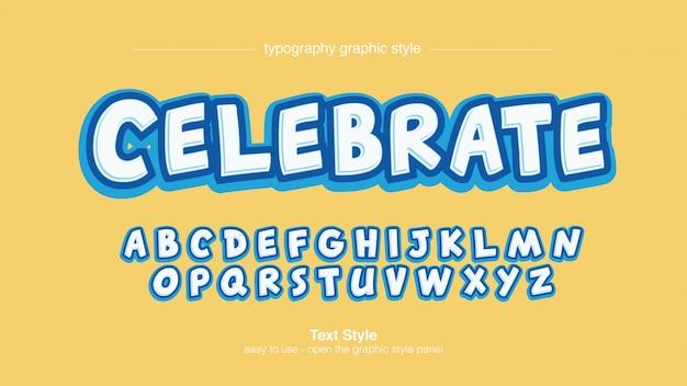 Tipografia 3d comica blu e bianca