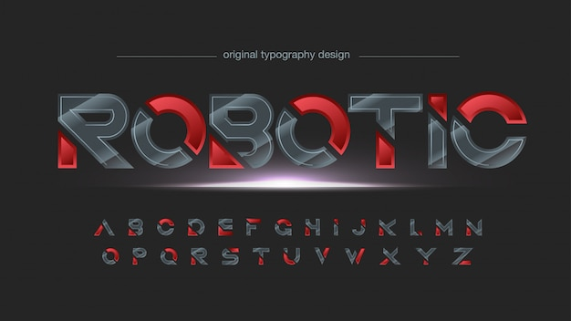 Tipografia affettata futuristica metallica nera e rossa