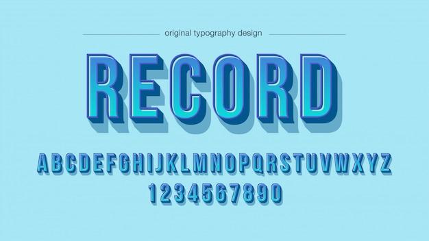 Tipografia blu grassetto con ombre