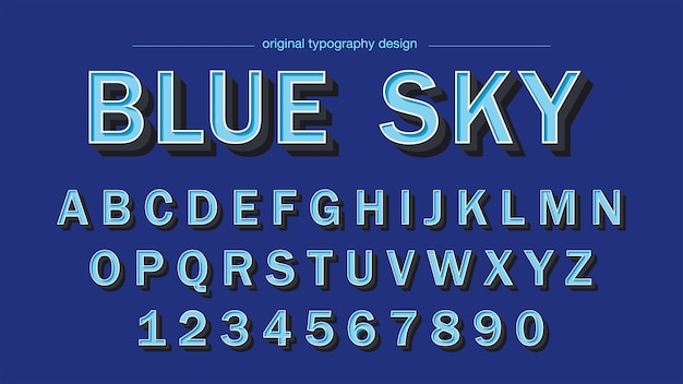 Tipografia blue bold bevel blue