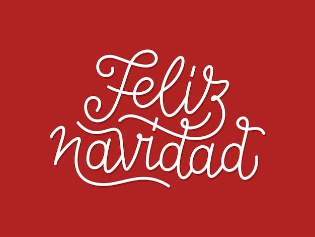 Tipografia calligrafica di feliz navidad linea arte