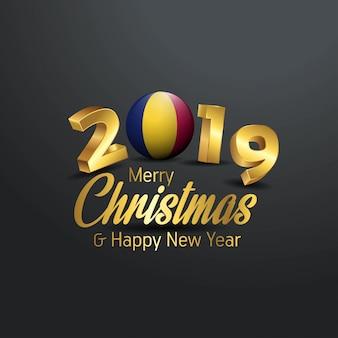 Tipografia chad flag 2019 merry christmas