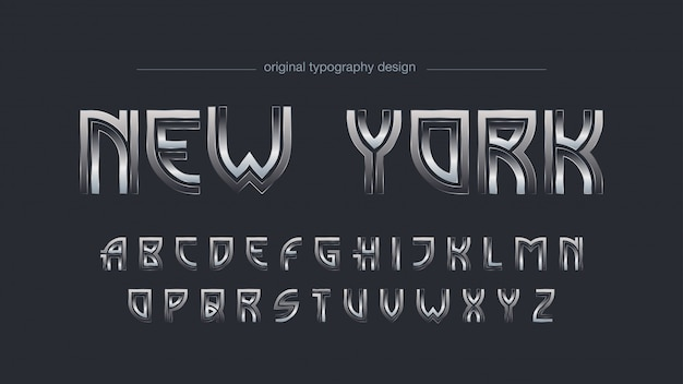 Tipografia chrome art deco astratto