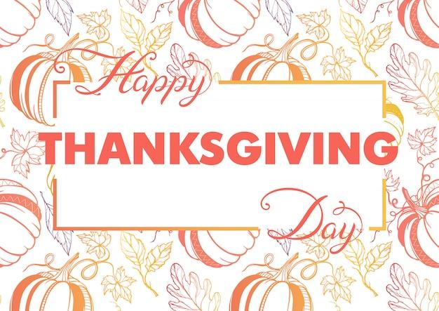 Tipografia del ringraziamento. lettere disegnate a mano con zucche stilizzate e foglie in colori autunnali. design di ringraziamento perfetto per stampe, volantini, striscioni, inviti, offerte speciali e altro ancora.