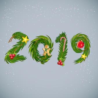 Tipografia design 2019 buon natale e felice anno nuovo.