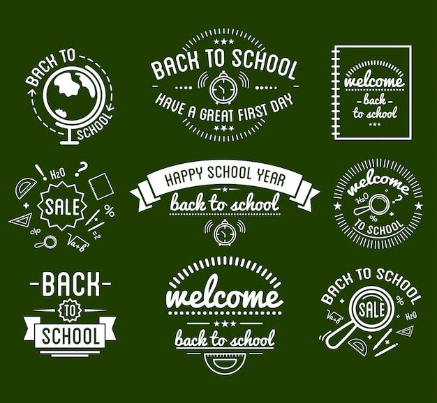 Tipografia di back to school disegni insieme di etichette.