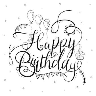 Tipografia di buon compleanno in bianco e nero