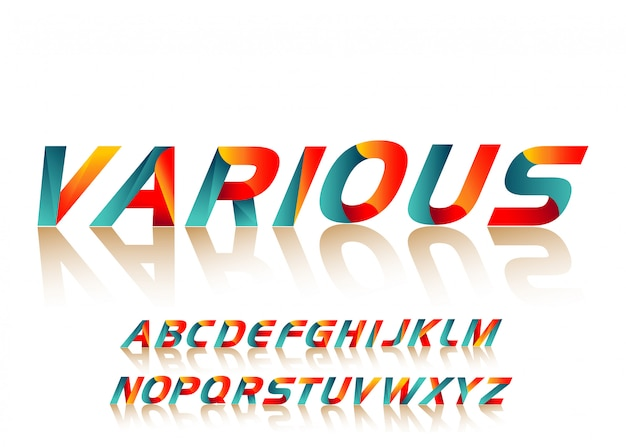 Tipografia di carattere alfabeto colorato