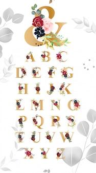 Tipografia di carattere alfabeto floreale