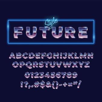 Tipografia di carattere retrò alfabeto metallico anni '80