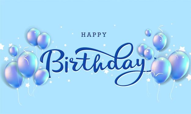 Tipografia di celebrazione di buon compleanno con palloncini realistici e coriandoli che cadono.