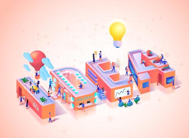 Tipografia di concetto di innovazione idea creativa