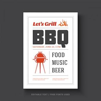Tipografia di evento del modello di progettazione del manifesto o dell'aletta di filatoio di vettore del partito di barbecue.