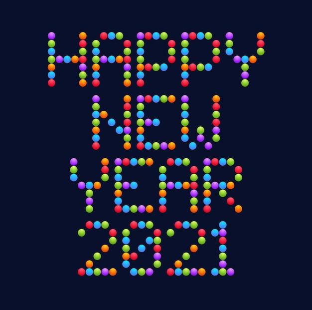 Tipografia di happy new year 2021 circle art. illustrazione della cartolina d'auguri di vacanze. lettere da cerchio e punti. poster geometrici di capodanno come tabellone elettronico.