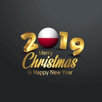 Tipografia di natale della bandiera della polonia 2019