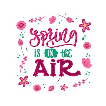 Tipografia di primavera con decorazioni colorate