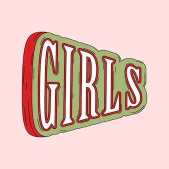 Tipografia di ragazze sul vettore verde