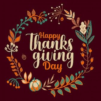 Tipografia di ringraziamento felice disegnata a mano nella bandiera della corona di autunno.