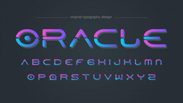 Tipografia di stile futuristico al neon
