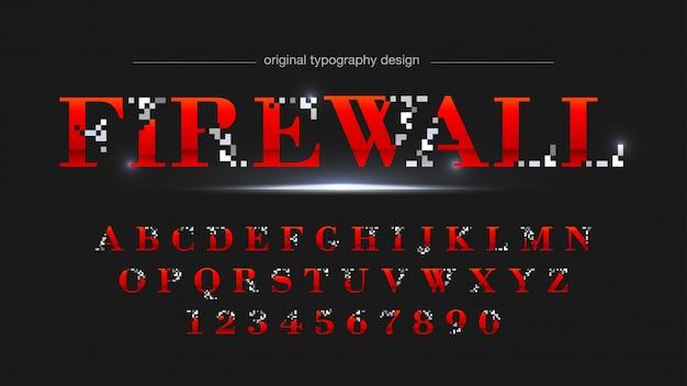 Tipografia digitale pixel astratto rosso e grigio