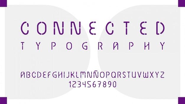 Tipografia futuristica con lettere e numeri