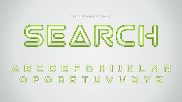 Tipografia futuristica di corsa verde