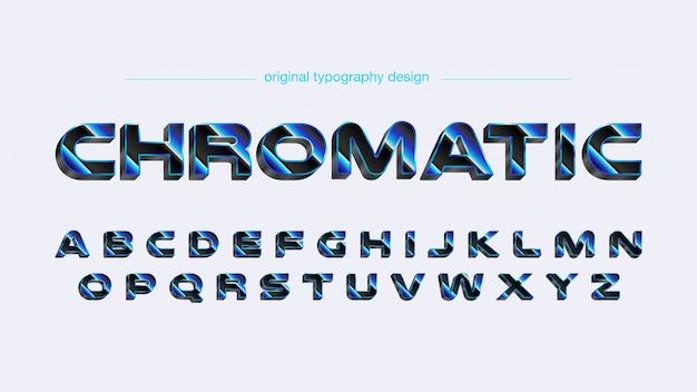 Tipografia futuristica grassetto cromato blu