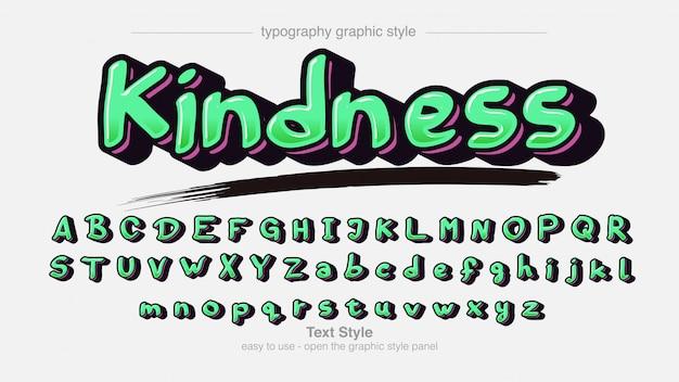 Tipografia graffiti grassetto verde chiaro