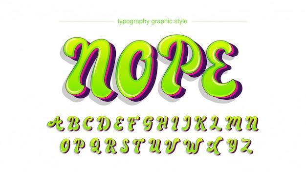 Tipografia graffiti maiuscolo verde neon luminoso