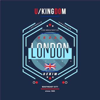 Tipografia grafica del regno unito per la maglietta stampata