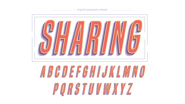 Tipografia grassetto corsivo vintage colorato