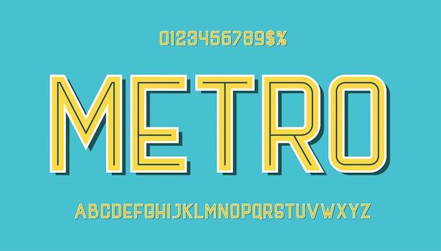 Tipografia ispirata inline retro typeace.