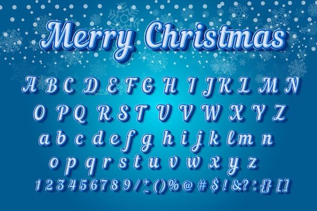 Tipografia moderna di carattere colorato di natale. alfabeto 3d inclinato stile sans serif per poster di festa.