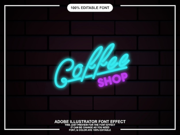 Tipografia modificabile di illustrator neon glow graphic editable