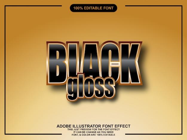 Tipografia modificabile di stile nero lucido illustratore