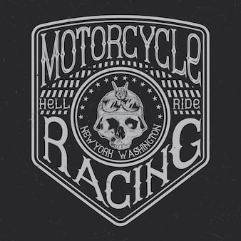 Tipografia motociclistica, grafica t-shirt, design di emblemi ed etichette