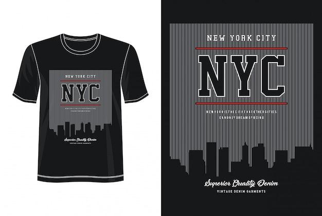 Tipografia nyc per t-shirt stampata