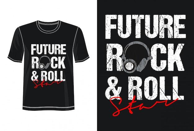 Tipografia rock and roll per t-shirt stampata