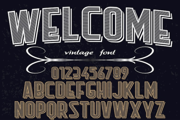 Tipografia shadow effect font design benvenuto