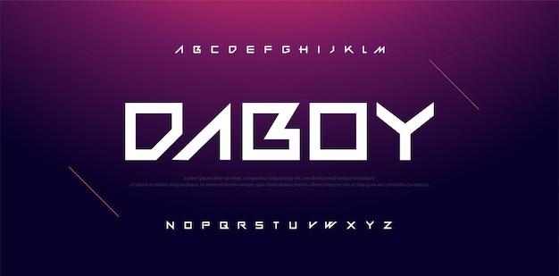 Tipografia sport tecnologia moderna carattere alfabeto