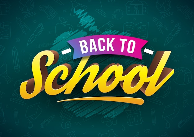 Tipografia yellow back to school 3d