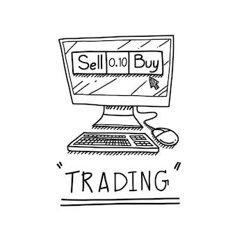 Tiraggio della mano del computer con il concetto di business trading