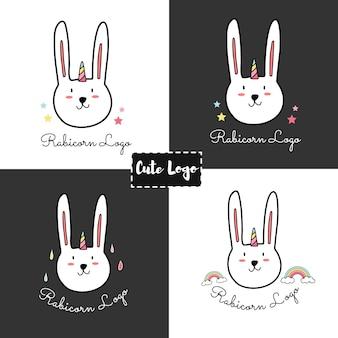 Tiraggio della mano del fumetto logo coniglio