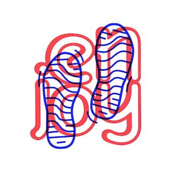 Tiraggio della mano doodle semplice in due fasi icona del campo di corsa.