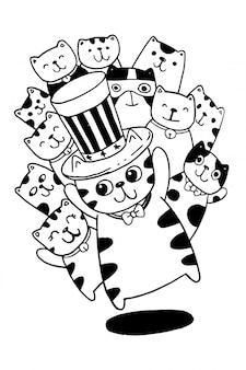 Tiraggio della mano in bianco e nero, coloritura dell'illustrazione di scarabocchi di stile di cat characters per i bambini.