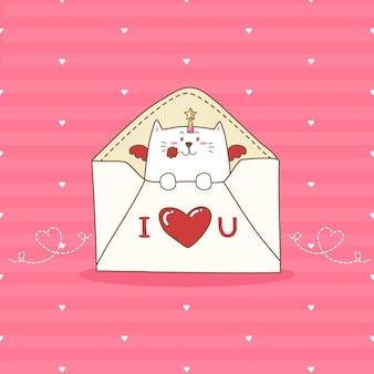 Tiraggio sveglio della mano del fumetto dell'unicorno del gatto per il san valentino