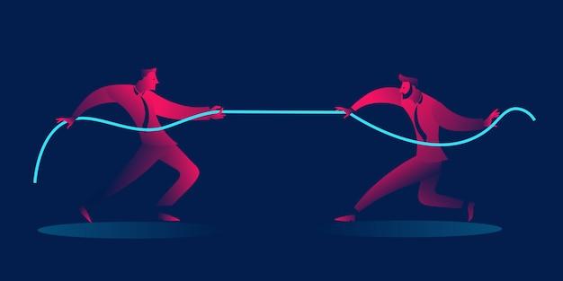 Tirare della corda degli uomini d'affari. concetto di business della concorrenza