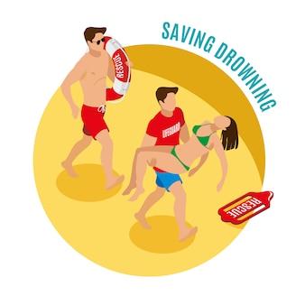 Tiri i bagnini in secco che tengono l'illustrazione isometrica della ragazza salvata e di salvagente