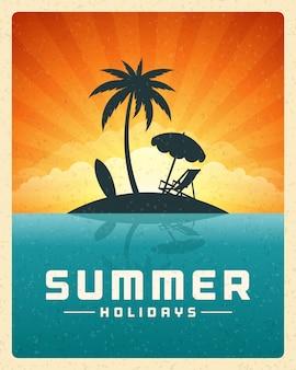 Tiri il mare in secco con la priorità bassa tropicale di vettore dell'estate dell'isola.